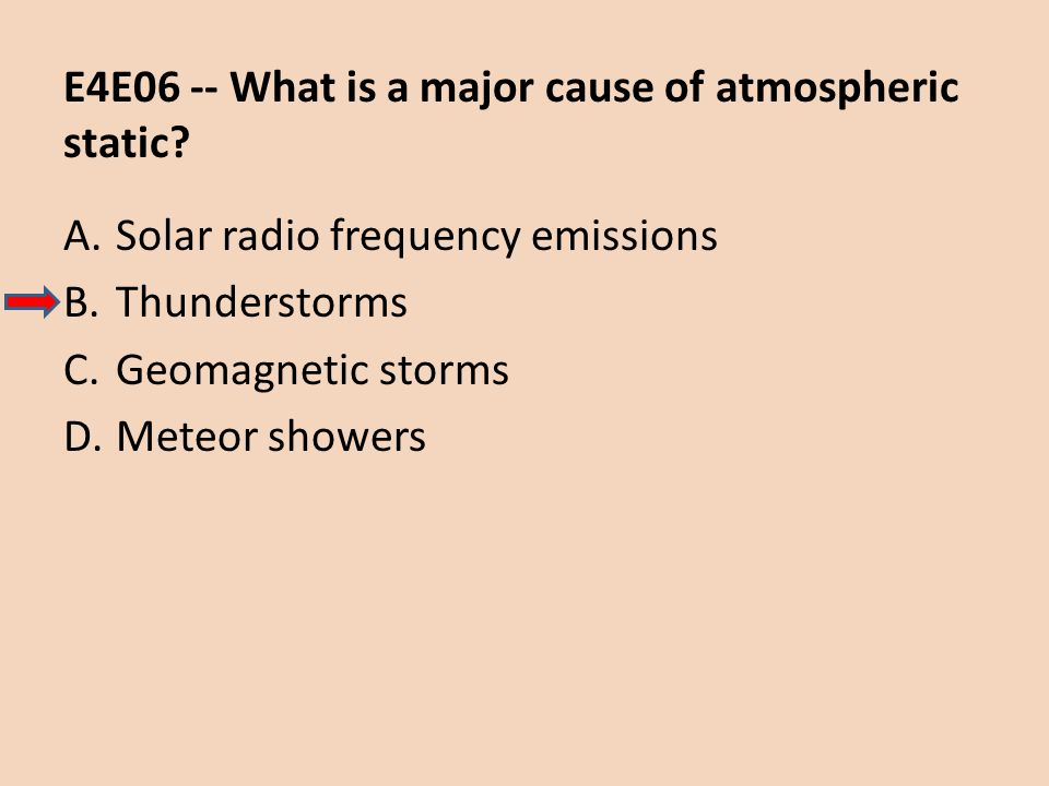 E4E06 -- What is a major cause of atmospheric static? A.Solar radio frequency emissions B.Thunderstorms C.Geomagnetic storms D.Meteor showers