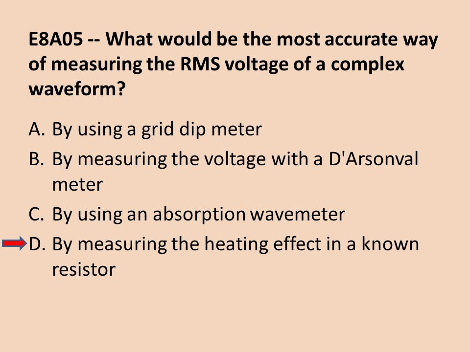 E8A05 -- What would be the most accurate way of measuring the RMS voltage of a complex waveform? A.By using a grid dip meter B.By measuring the voltag