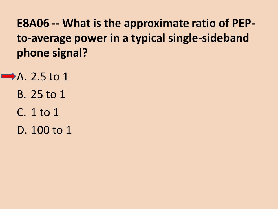E8A06 -- What is the approximate ratio of PEP- to-average power in a typical single-sideband phone signal? A.2.5 to 1 B.25 to 1 C.1 to 1 D.100 to 1