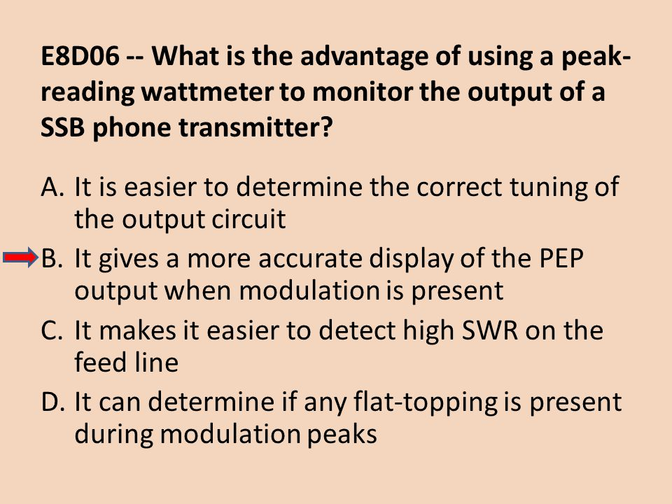 E8D06 -- What is the advantage of using a peak- reading wattmeter to monitor the output of a SSB phone transmitter? A.It is easier to determine the co