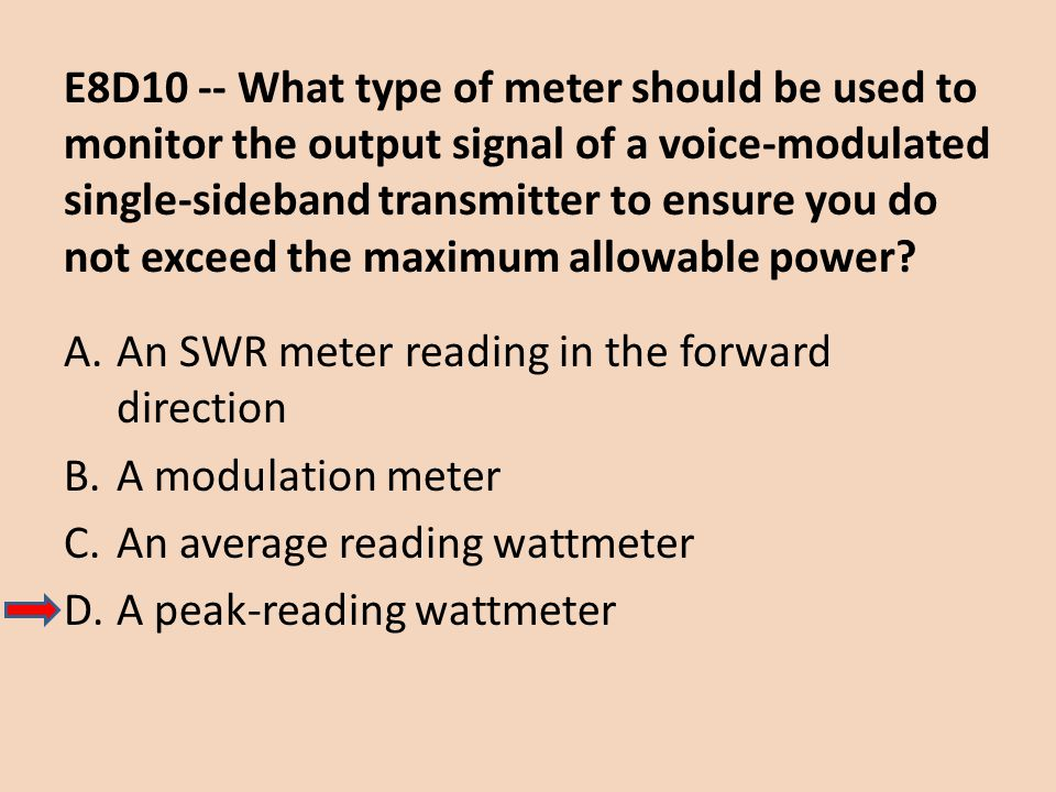 E8D10 -- What type of meter should be used to monitor the output signal of a voice-modulated single-sideband transmitter to ensure you do not exceed t