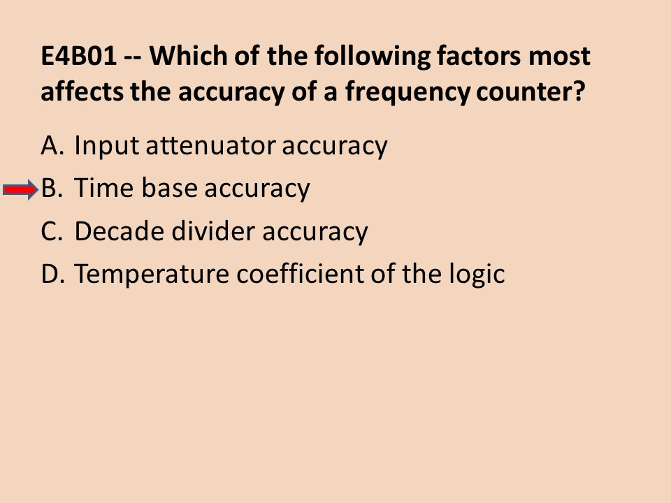 E4B01 -- Which of the following factors most affects the accuracy of a frequency counter? A.Input attenuator accuracy B.Time base accuracy C.Decade di