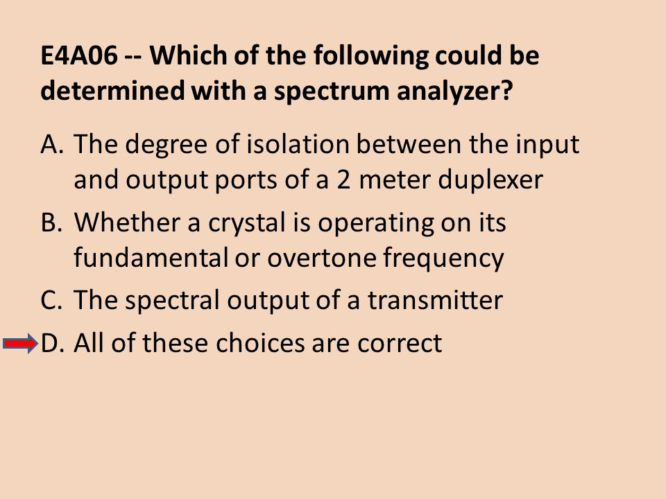 E4A06 -- Which of the following could be determined with a spectrum analyzer? A.The degree of isolation between the input and output ports of a 2 mete