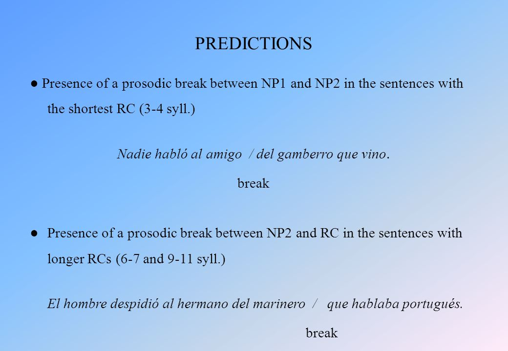 ● Presence of a prosodic break between NP1 and NP2 in the sentences with the shortest RC (3-4 syll.) Nadie habló al amigo / del gamberro que vino.