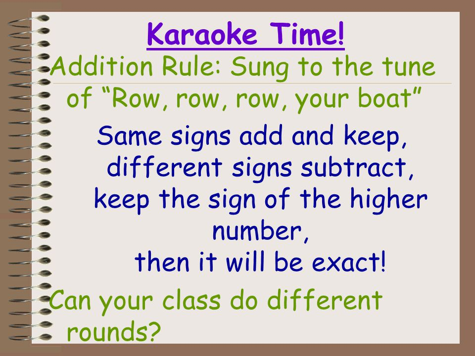 Addition Rule 1) When the signs are the same, ADD and keep the sign. (-2) + (-4) = -6 2) When the signs are different, SUBTRACT and use the sign of th