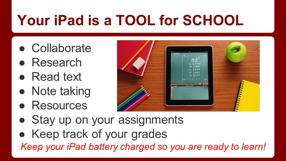 Your iPad is a TOOL for SCHOOL ●Collaborate ●Research ●Read text ●Note taking ●Resources ●Stay up on your assignments ●Keep track of your grades Keep