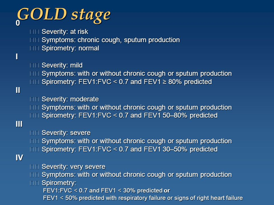 GOLD stage 0 Severity: at risk Severity: at risk Symptoms: chronic cough, sputum production Symptoms: chronic cough, sputum production Spirometry: nor