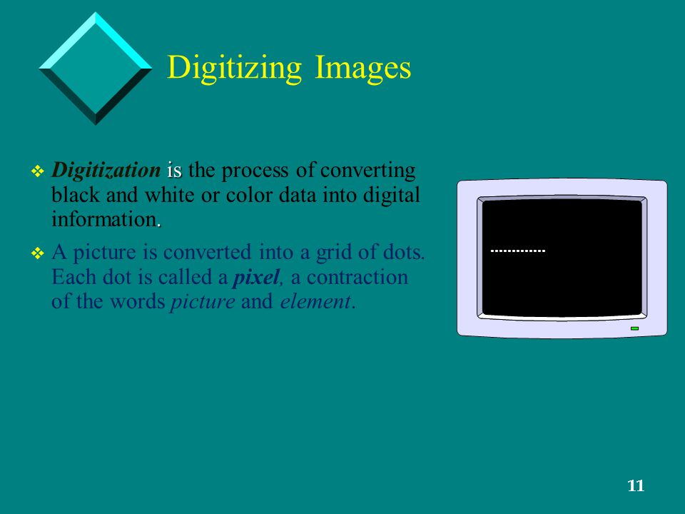 11 Digitizing Images v is. v Digitization is the process of converting black and white or color data into digital information. v v A picture is conver