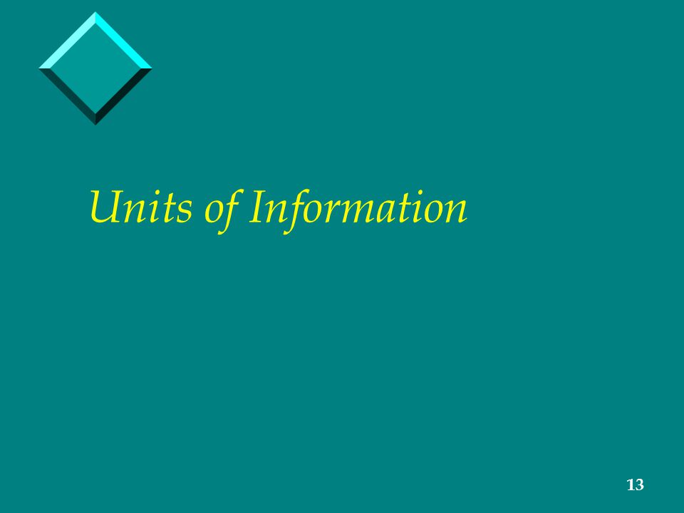 13 Units of Information