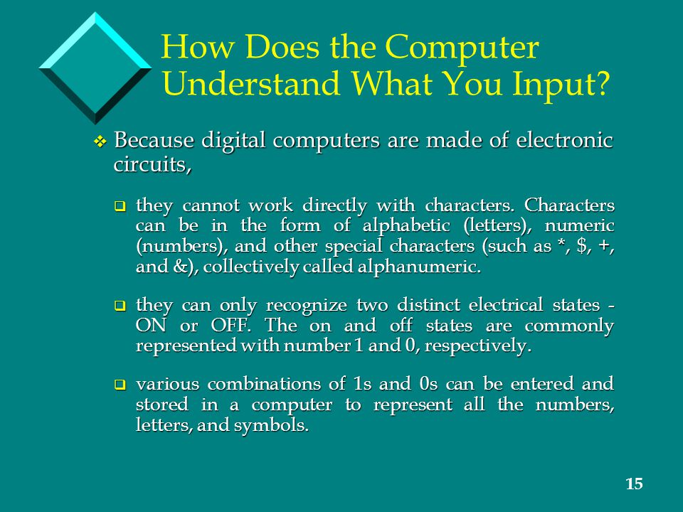 15 How Does the Computer Understand What You Input.