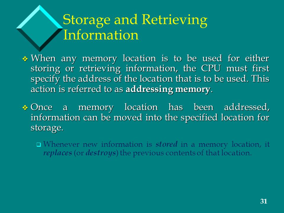 31 Storage and Retrieving Information v When any memory location is to be used for either storing or retrieving information, the CPU must first specif
