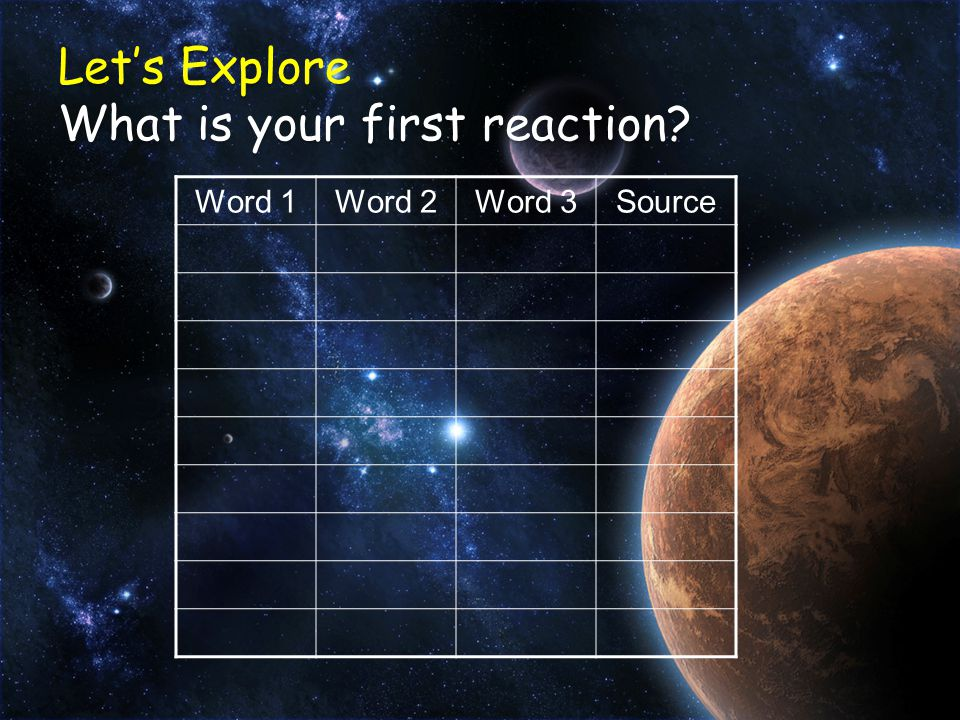 Let's Explore What is your first reaction Word 1Word 2Word 3Source