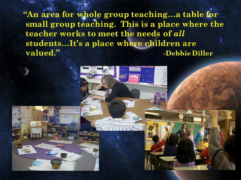 An area for whole group teaching…a table for small group teaching.