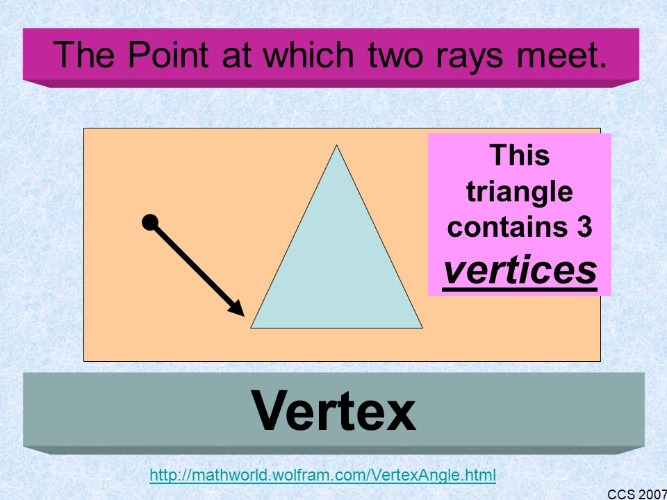 CCS 2007 A line with one endpoint Ray http://www.mathleague.com/help/geometry/basicterms.htm#rays