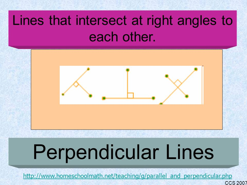 CCS 2007 Two lines, equal distance apart that will never touch or intersect; non- intersecting lines Parallel Lines http://www.homeschoolmath.net/teaching/g/parallel_and_perpendicular.php