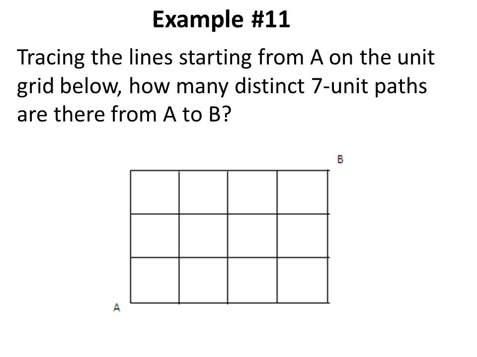 Example #11 Tracing the lines starting from A on the unit grid below, how many distinct 7-unit paths are there from A to B?