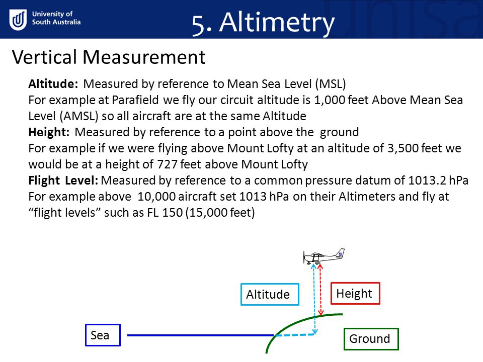 5. Altimetry Altitude: Measured by reference to Mean Sea Level (MSL) For example at Parafield we fly our circuit altitude is 1,000 feet Above Mean Sea