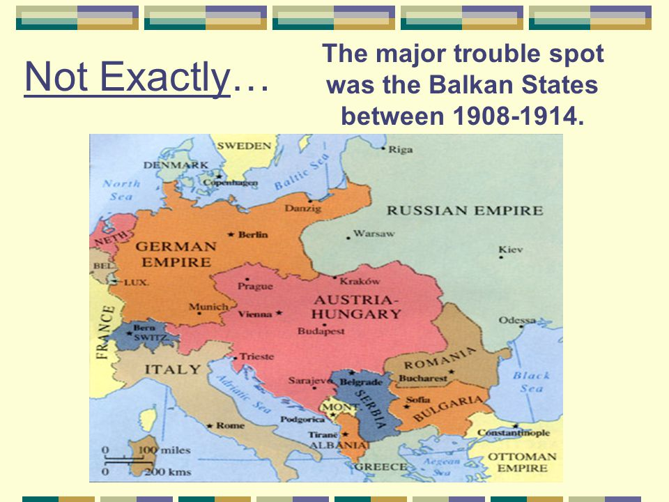 Nationalist struggles in the Balkans  The Balkan states were made up of three ethnic groups (The Catholic Croatians, the Muslim Bosnians, and the Orthodox Serbians) who each wished to be recognized as separate nations.