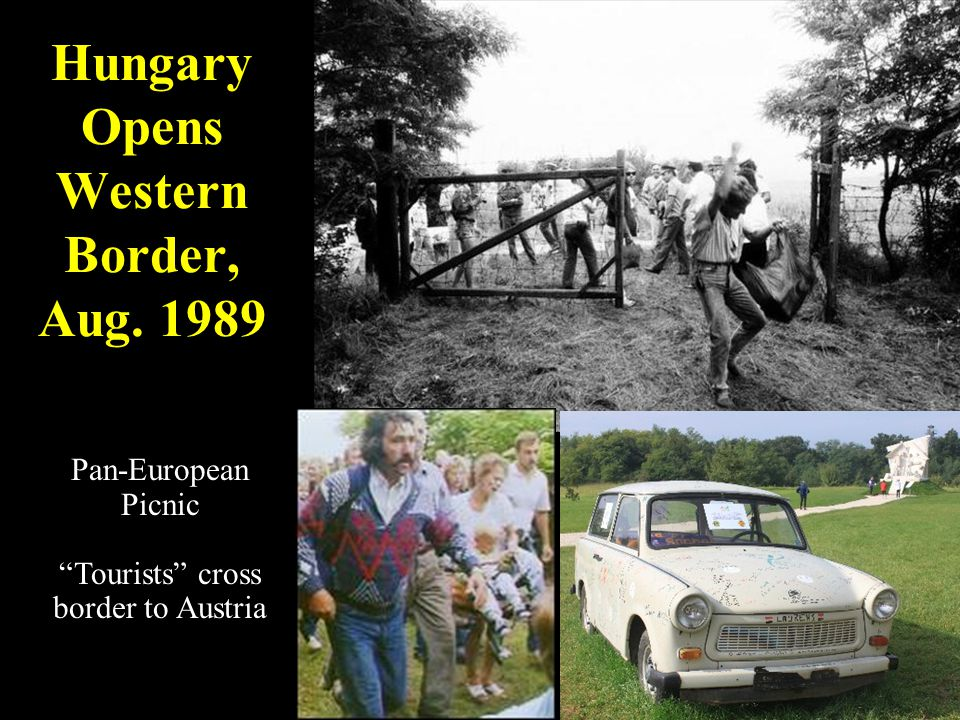 "Hungary Opens Western Border, Aug. 1989 Pan-European Picnic ""Tourists"" cross border to Austria"