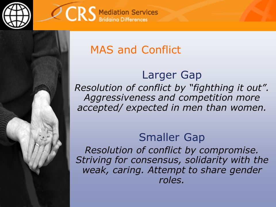 MAS and Conflict Larger Gap Resolution of conflict by fighthing it out .