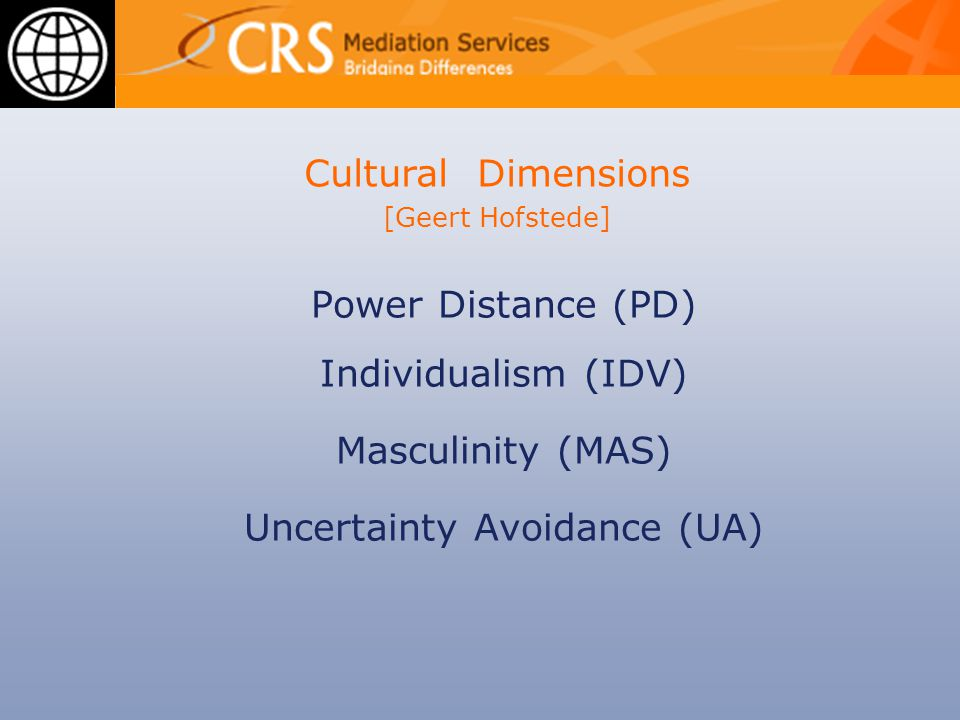Power Distance (PD) Individualism (IDV) Masculinity (MAS) Uncertainty Avoidance (UA) Cultural Dimensions [Geert Hofstede]