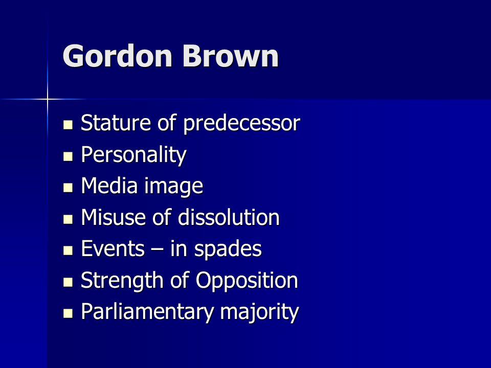 Gordon Brown Stature of predecessor Stature of predecessor Personality Personality Media image Media image Misuse of dissolution Misuse of dissolution Events – in spades Events – in spades Strength of Opposition Strength of Opposition Parliamentary majority Parliamentary majority