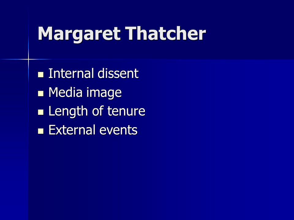 Margaret Thatcher Internal dissent Internal dissent Media image Media image Length of tenure Length of tenure External events External events