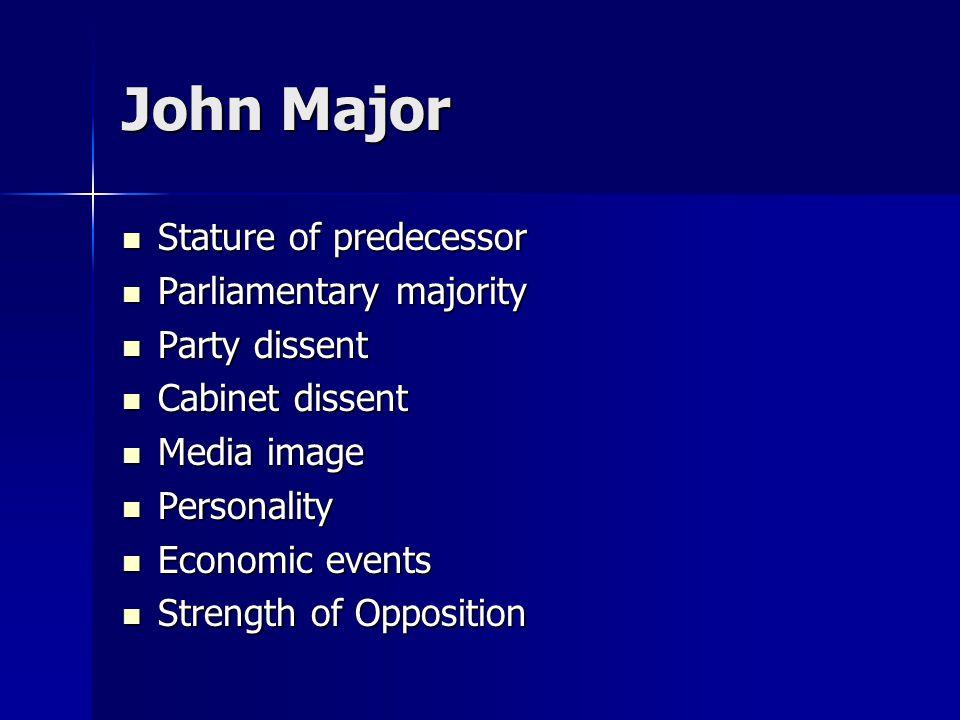 John Major Stature of predecessor Stature of predecessor Parliamentary majority Parliamentary majority Party dissent Party dissent Cabinet dissent Cabinet dissent Media image Media image Personality Personality Economic events Economic events Strength of Opposition Strength of Opposition