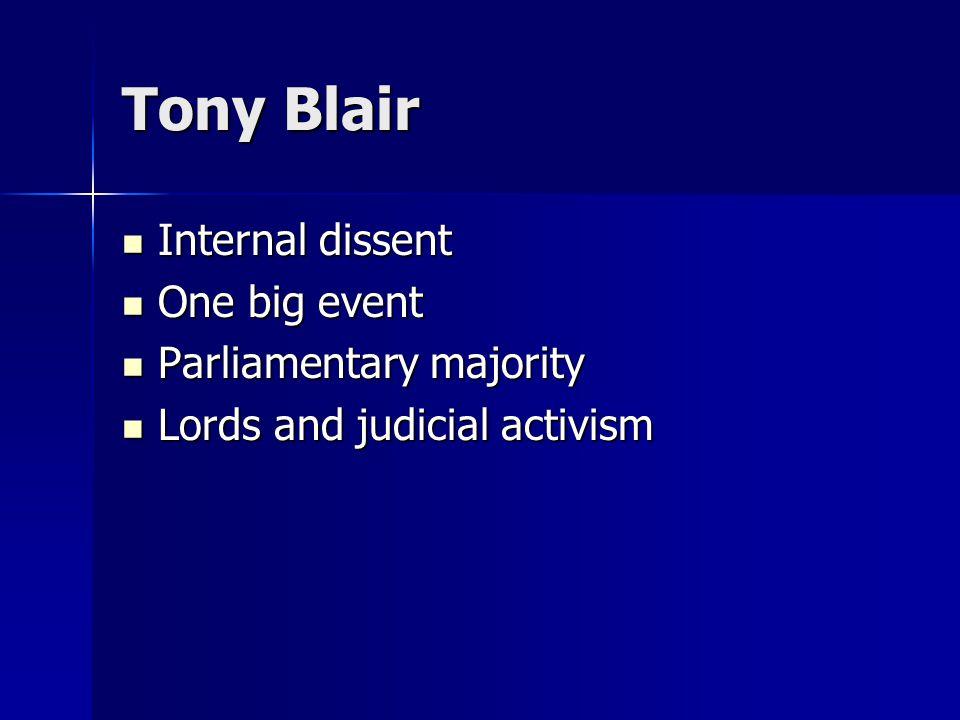 Tony Blair Internal dissent Internal dissent One big event One big event Parliamentary majority Parliamentary majority Lords and judicial activism Lords and judicial activism