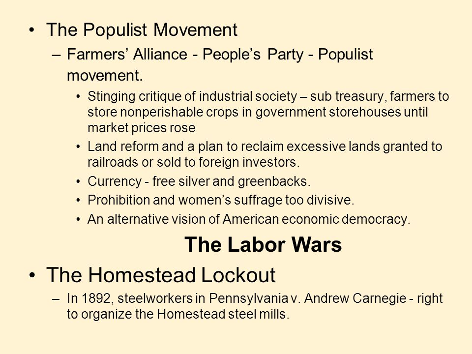 The Populist Movement –Farmers' Alliance - People's Party - Populist movement. Stinging critique of industrial society – sub treasury, farmers to stor