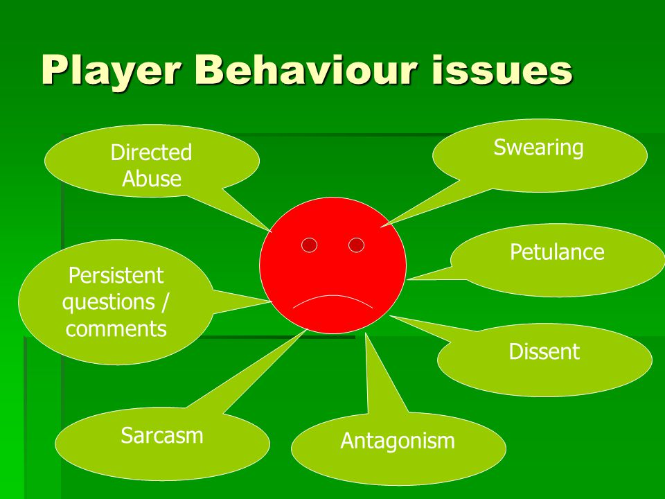 Player Behaviour issues Swearing Petulance Antagonism Dissent Persistent questions / comments Directed Abuse Sarcasm