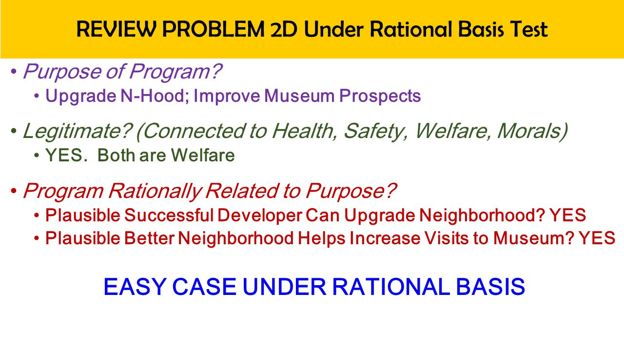 REVIEW PROBLEM 2D Under Rational Basis Test Purpose of Program.