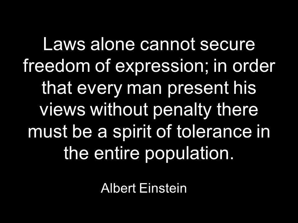 Laws alone cannot secure freedom of expression; in order that every man present his views without penalty there must be a spirit of tolerance in the entire population.
