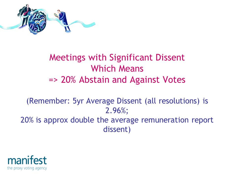 Meetings with Significant Dissent Which Means => 20% Abstain and Against Votes (Remember: 5yr Average Dissent (all resolutions) is 2.96%; 20% is approx double the average remuneration report dissent)