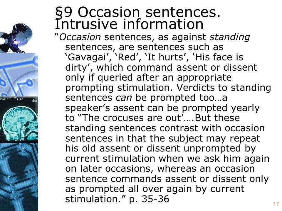 17 §9 Occasion sentences.