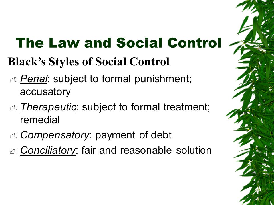 The Law and Social Control  Penal: subject to formal punishment; accusatory  Therapeutic: subject to formal treatment; remedial  Compensatory: paym