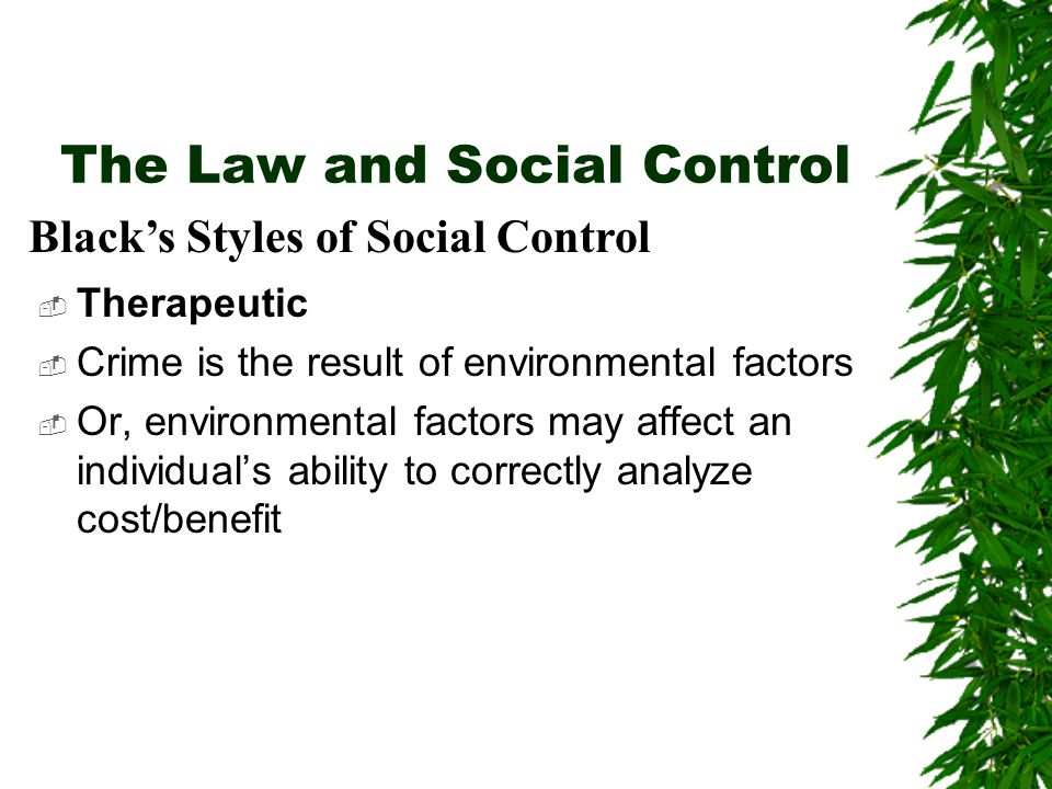 The Law and Social Control  Therapeutic  Crime is the result of environmental factors  Or, environmental factors may affect an individual's ability to correctly analyze cost/benefit Black's Styles of Social Control