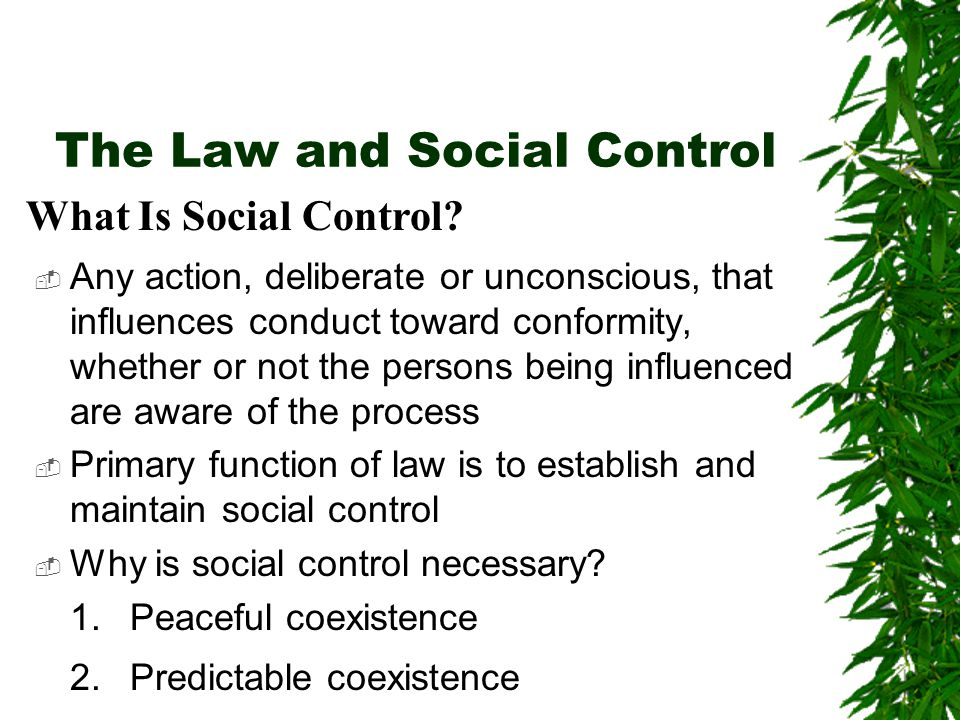  Any action, deliberate or unconscious, that influences conduct toward conformity, whether or not the persons being influenced are aware of the process  Primary function of law is to establish and maintain social control  Why is social control necessary.