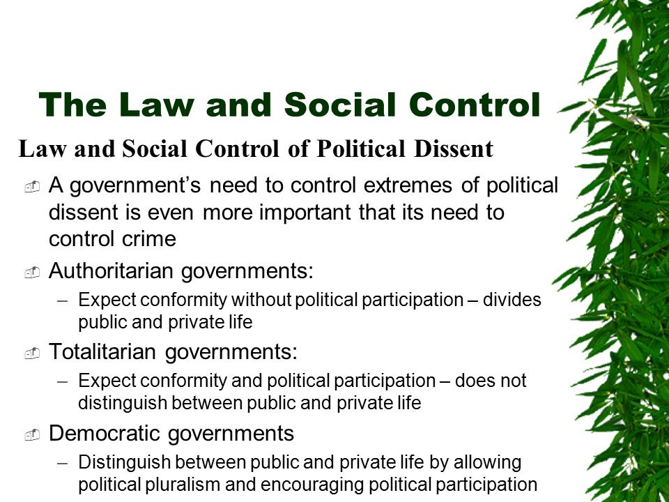 The Law and Social Control  A government's need to control extremes of political dissent is even more important that its need to control crime  Auth