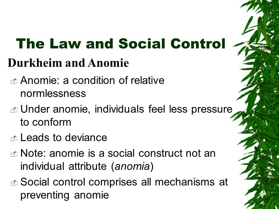 The Law and Social Control  Anomie: a condition of relative normlessness  Under anomie, individuals feel less pressure to conform  Leads to devianc