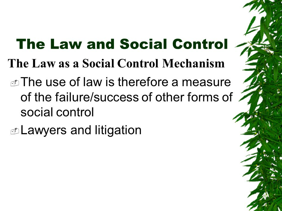 The Law and Social Control  The use of law is therefore a measure of the failure/success of other forms of social control  Lawyers and litigation The Law as a Social Control Mechanism