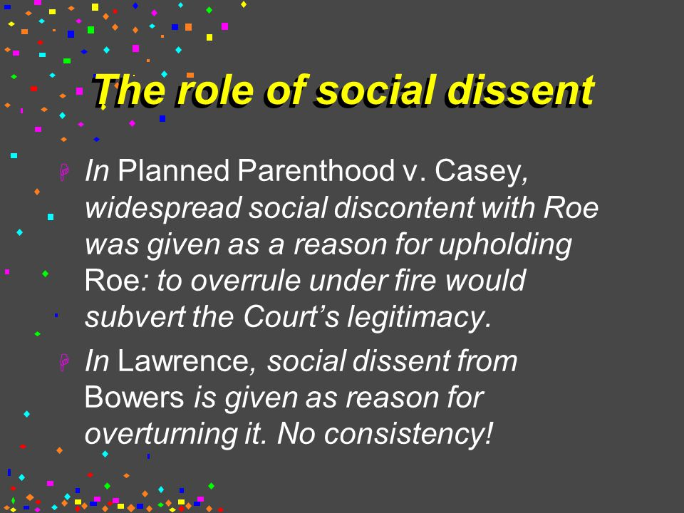 The role of social dissent  In Planned Parenthood v.