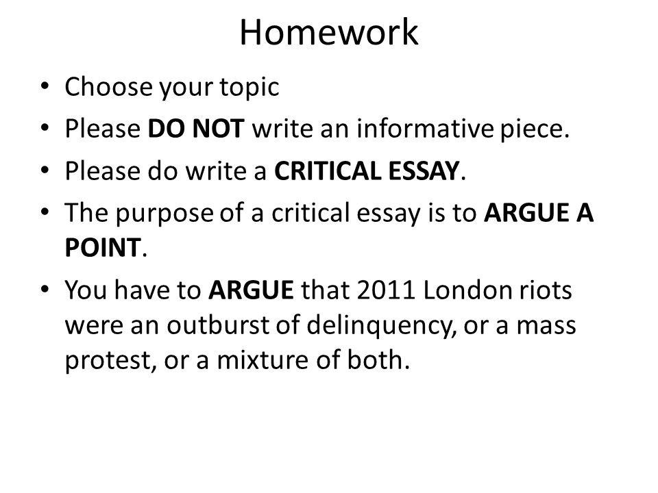 Homework Choose your topic Please DO NOT write an informative piece.