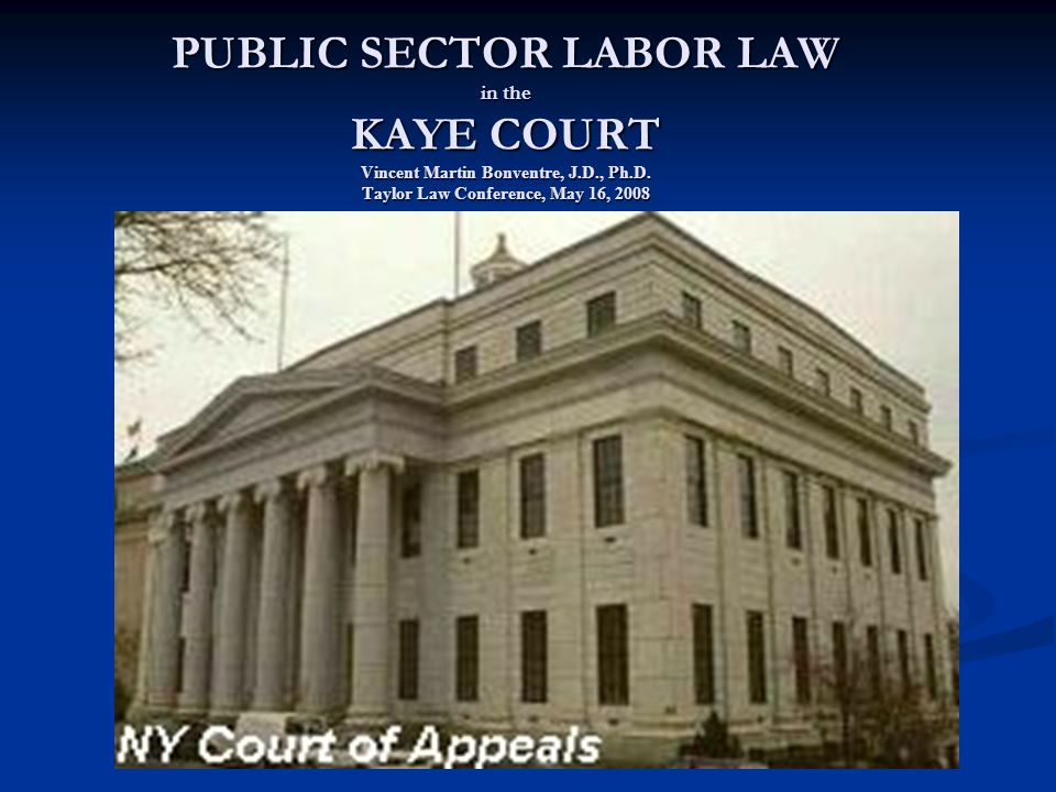 PUBLIC SECTOR LABOR LAW in the KAYE COURT Vincent Martin Bonventre, J.D., Ph.D.
