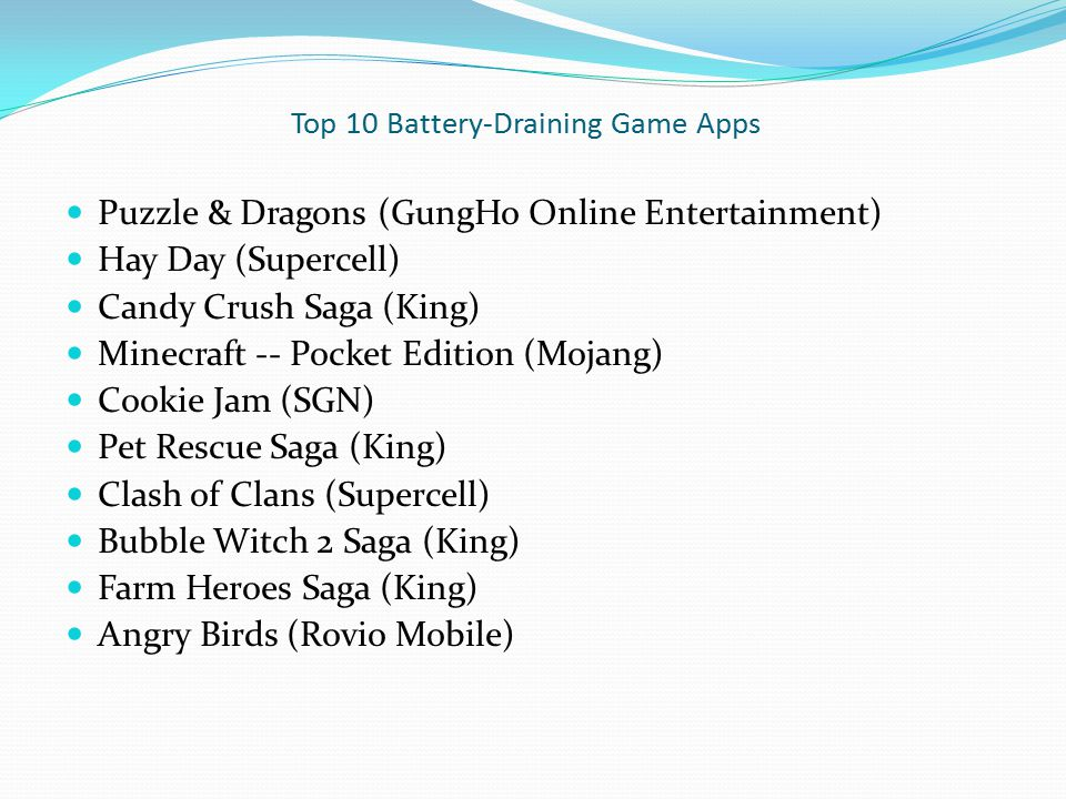 Top 10 Battery-Draining Game Apps Puzzle & Dragons (GungHo Online Entertainment) Hay Day (Supercell) Candy Crush Saga (King) Minecraft -- Pocket Editi