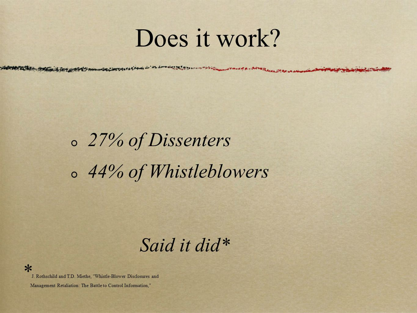 Does it work.27% of Dissenters 44% of Whistleblowers Said it did* * J.