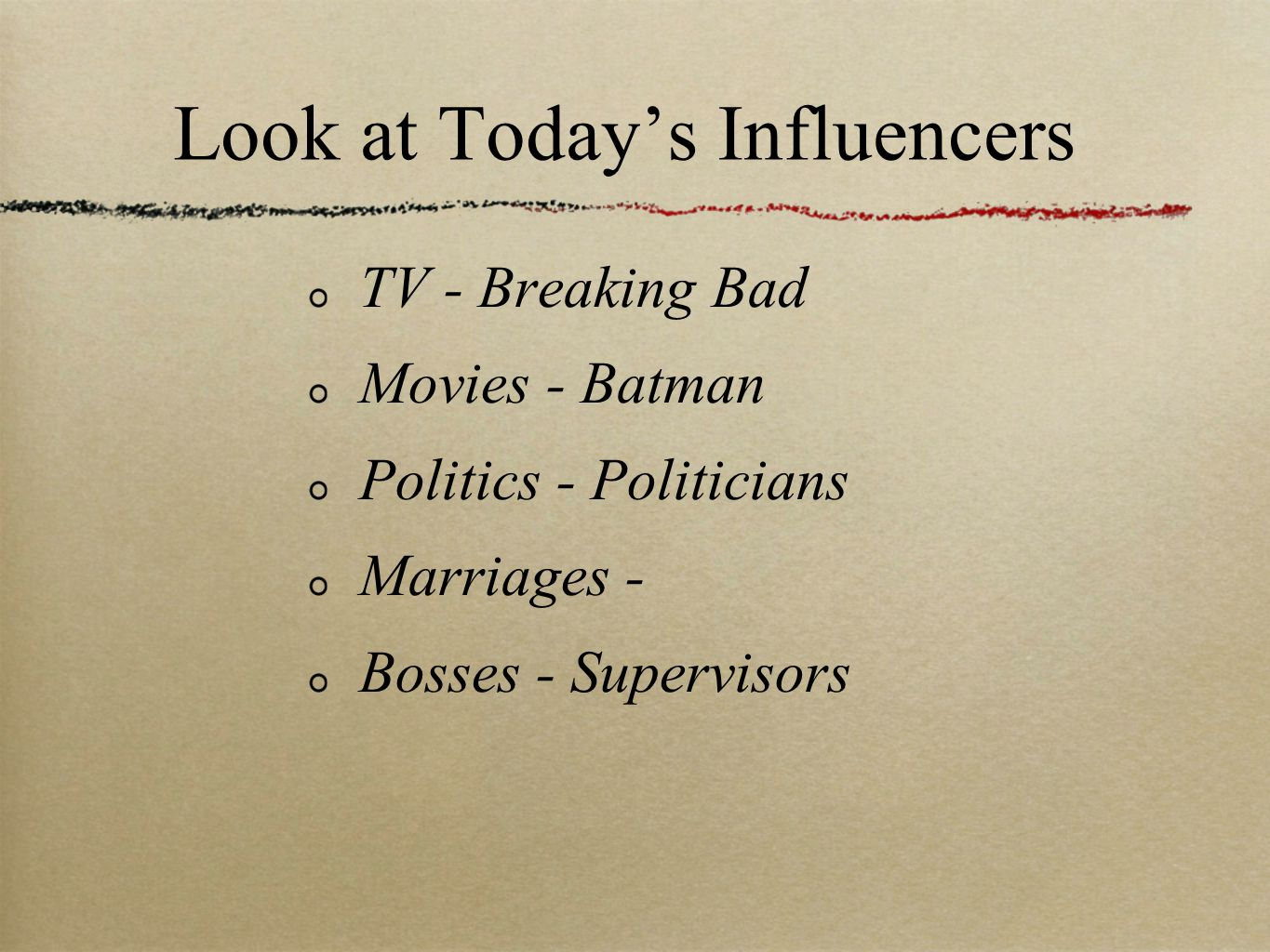 TV - Breaking Bad Movies - Batman Politics - Politicians Marriages - Bosses - Supervisors Look at Today's Influencers