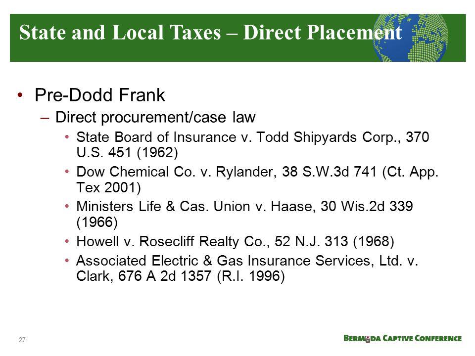 Pre-Dodd Frank –Direct procurement/case law State Board of Insurance v. Todd Shipyards Corp., 370 U.S. 451 (1962) Dow Chemical Co. v. Rylander, 38 S.W