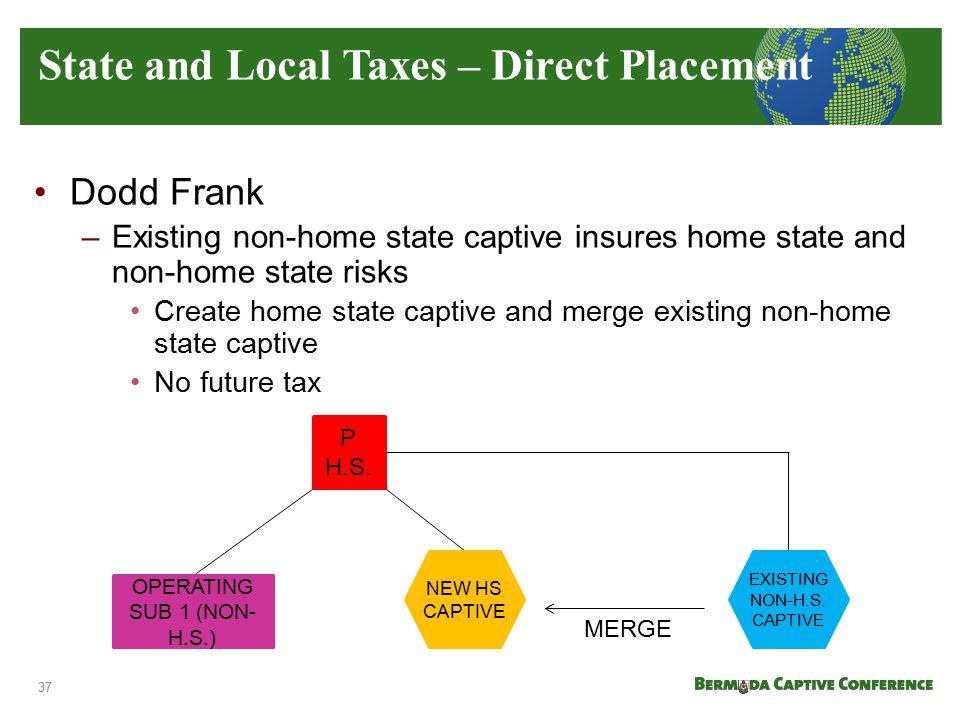 Dodd Frank –Existing non-home state captive insures home state and non-home state risks Create home state captive and merge existing non-home state ca