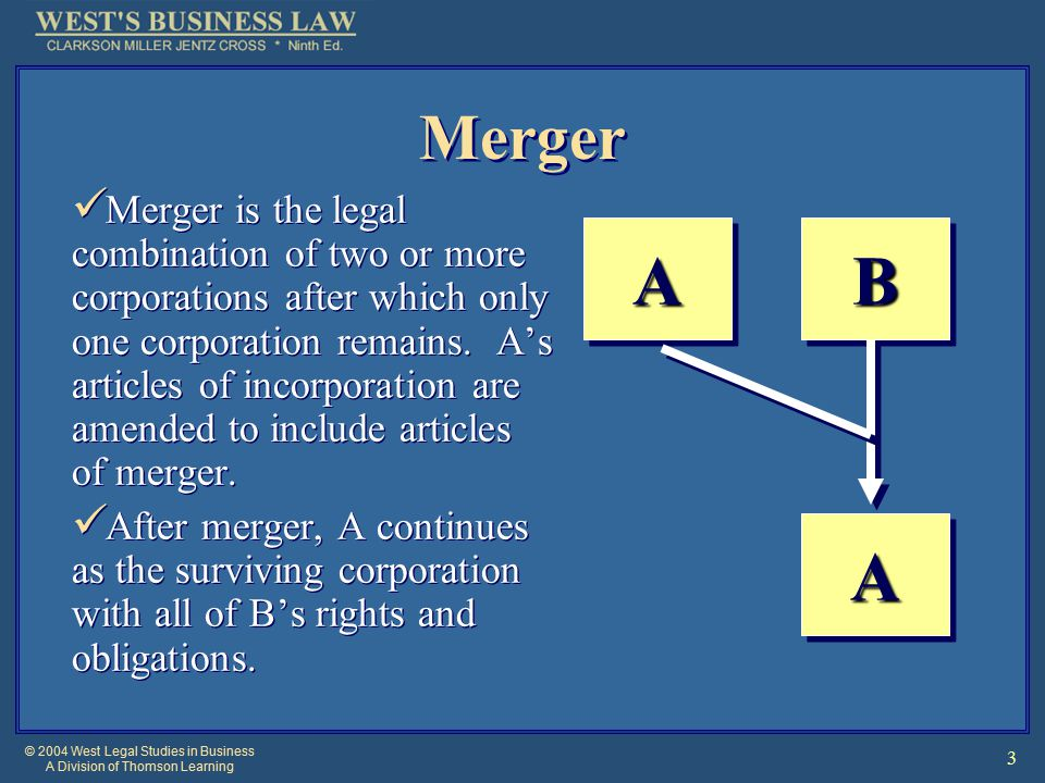 © 2004 West Legal Studies in Business A Division of Thomson Learning 3 Merger Merger is the legal combination of two or more corporations after which only one corporation remains.